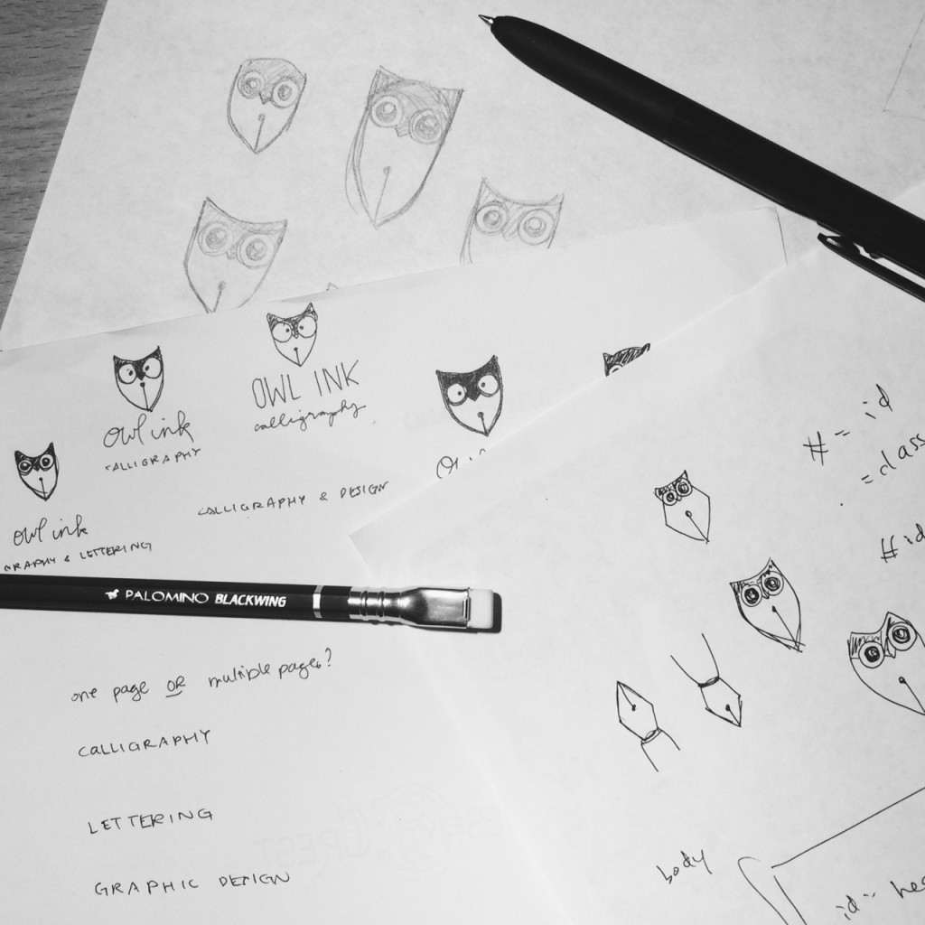 Owl Ink Logo Sketching