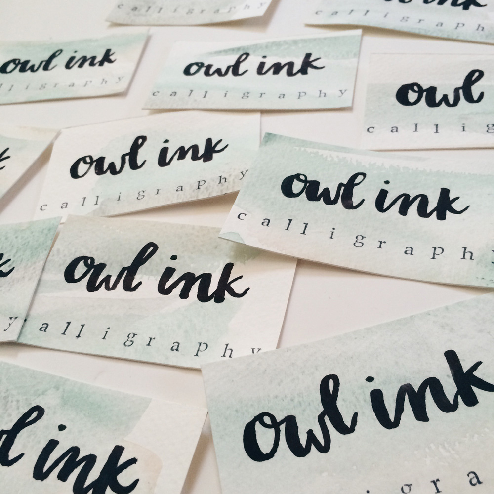 DIY Watercolor Lettering Business Cards – Owl Ink