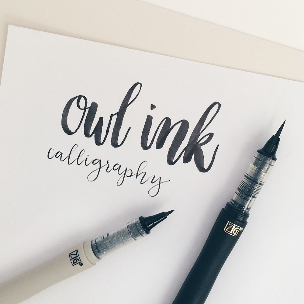 Owl ink review kuretake cocoiro lettering pens owl ink T in calligraphy